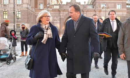 Stefan Löfven leaves the Swedish parliament with his wife, Ulla