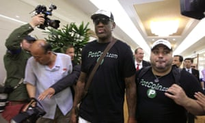 The former NBA basketball star Dennis Rodman arrives in Pyongyang on Tuesday.