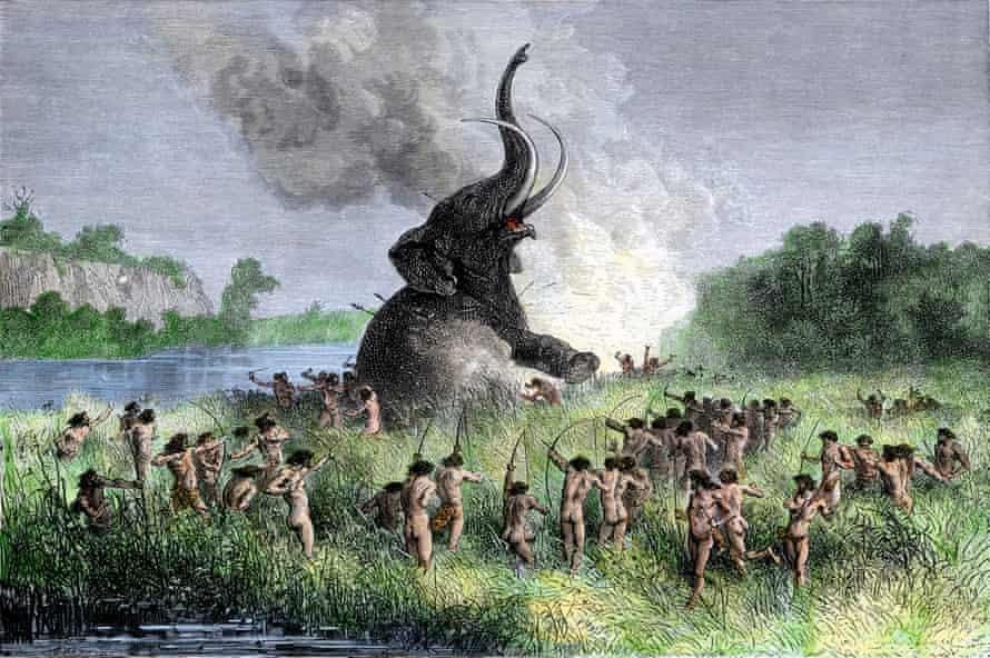 Prehistoric woolly mammoth hunters