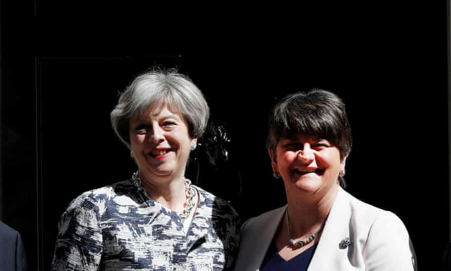 Theresa May with DUP leader, Arlene Foster, announcing the agreement between their parties.
