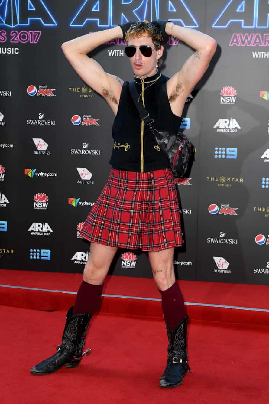 Kirin J Callinan in a kilt on the red carpet outside the Aria awards on 28 November.