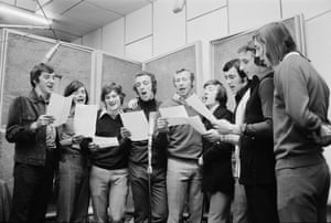 Arsenal footballers in a recording studio in London recording their FA Cup Final single 'Good Old Arsenal'.