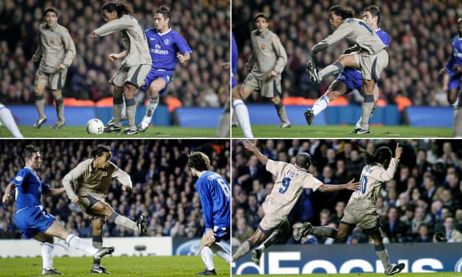 Ronaldinho brought futsal flair to a new audience at Chelsea in 2005 with his jig and toe-poke to put Barcelona back in the Champions League tie.