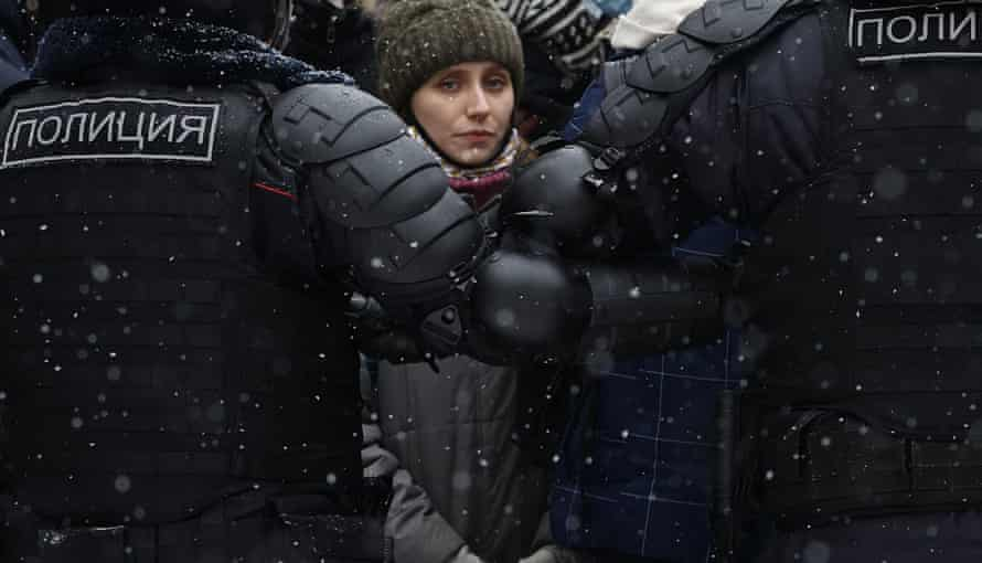 A protestor in Moscow