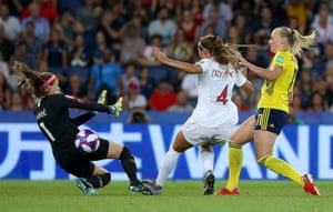 Stina Blackstenius of Sweden pokes in the opening goal.