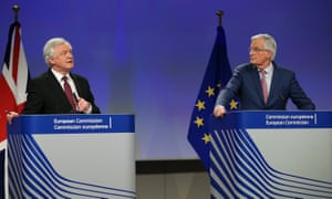 David Davis and Michel Barnier hold a joint press conference following Brexit talks in Brussels.