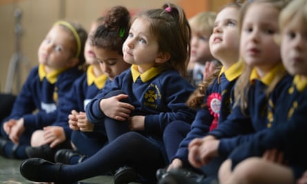 Primary schoolchildren in morning assembly.