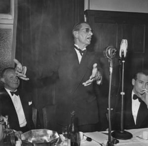 Neville Cardus makes a speech for the Cricket Writers' Club in 1950