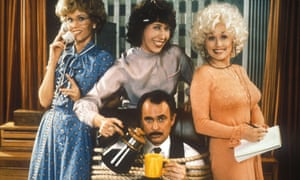Cartoon caricatures … Jane Fonda, Lily Tomlin and Dolly Parton with Dabney Coleman in 9 to 5.