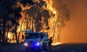 A handout photo taken on January 7, 2016 and released on January 8 by the Department of Fire and Emergency Services shows firefighters battling a fire at Waroona in Western Australia.