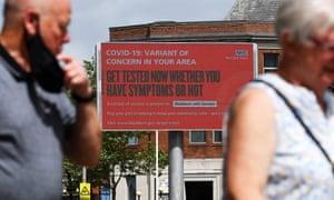 A Covid-19 information sign in Blackburn.