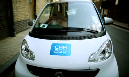 A Car2go car. A new report has found one-way car sharing can significantly reduce greenhouse gas emissions.