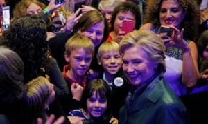 Democratic presidential nominee Hillary Clinton poses with audience members at a Women for Hillary campaign finance event in Washington, DC, on Wednesday.