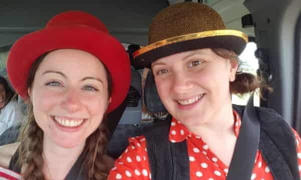 Undercover clown Anna Leach (right) with professional clown Miriam Needham.