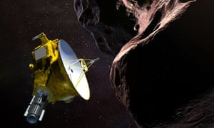 An illustration of the New Horizons spacecraft encountering 2014 MU69 – nicknamed Ultima Thule – a Kuiper belt object that orbits 1bn miles beyond Pluto.