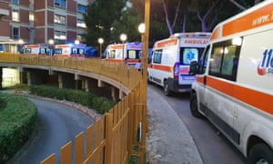 Ambulances queue up outside of the Covid-19 hospital in Partinico, Sicily.