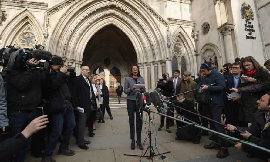 Claimant Gina Miller outside the high court after judges ruled against government.