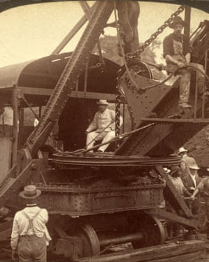 President Roosevelt sits in an American steam-shovel at Culebra Cut, on the Panama Canal in 1906.