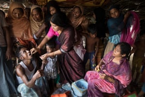 An oral cholera vaccination being given in Bangladesh in 2017.