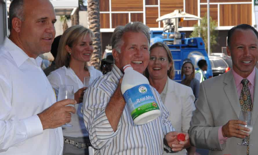 Actor Martin Sheen and supporters attend a press conference for the Fresh Raw Milk Act at Whole Foods in Venice, California, in 2008.
