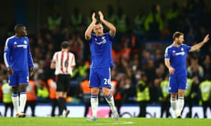 John Terry of Chelsea applauds fans after his team's 3-1 win over Sunderland at Stamford Bridge.