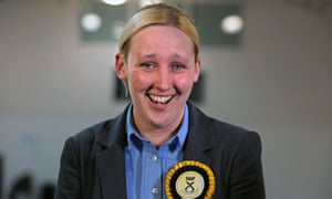 SNP's Mhairi Black smiles after winning Paisley and Renfrewshire South, becoming the youngest MP since 1667.