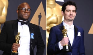 Camaraderie … Barry Jenkins, left, and Damien Chazelle, with their Oscars.