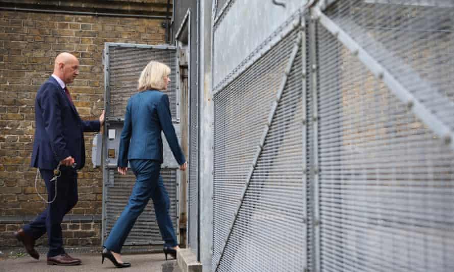 Liz Truss entering a prison