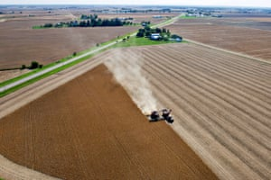 Soybeans being harvested at n a farm in Illinois, U.S.