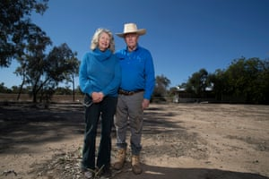 Scientist farmer Peter Schmidt with his partner Kathryn James on Alawoona, near Wyandra , Queensland. Monday 20 August 2018.