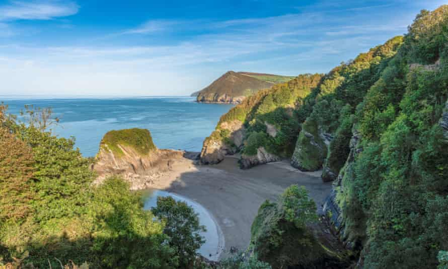 The Bristol Channel coast with Broadsands Beach, North Devon,