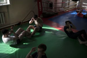 Nationalists attend a martial arts training session in Kiev