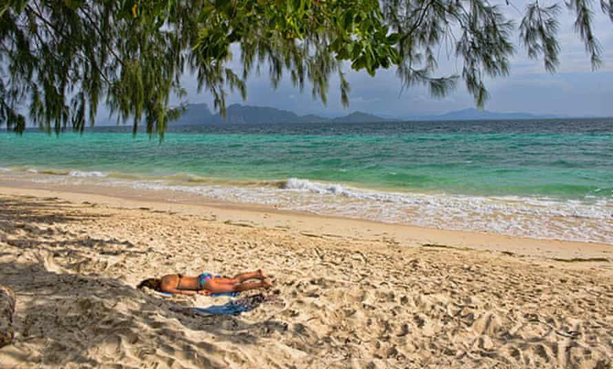 Beautiful white sand beach on  Koh Kradan island in Thailand