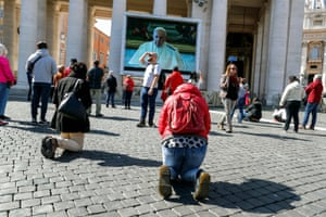 Pope Francis leads weekly Angelus prayer through livestream due to coronavirus epidemic at St Peter's Square, Vatican City