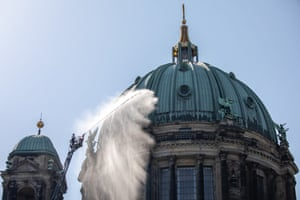 Berlin, Germany. Firefighters take part in a drill at Berlin Cathedral