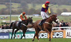 Native River gets the better of Might Bite in the Gold Cup at this year's Cheltenham Festival.