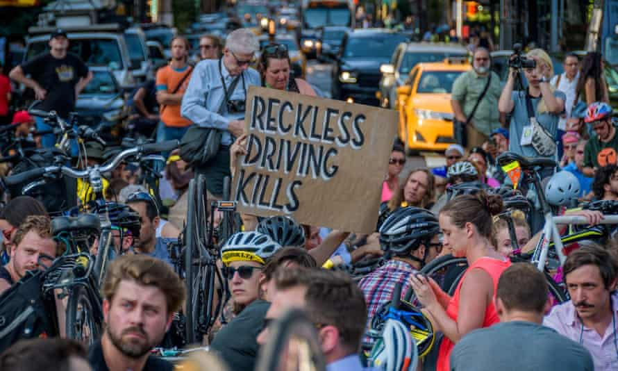 Hundreds of New York cyclists in Washington Square Park Tuesday.