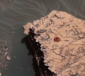 "An image from 23 May 2018 shows how Nasa's Mars Curiosity rover successfully drilled a hole in a target called ""Duluth""."