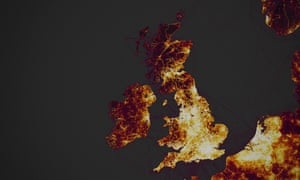 A Strava heat map of the UK.