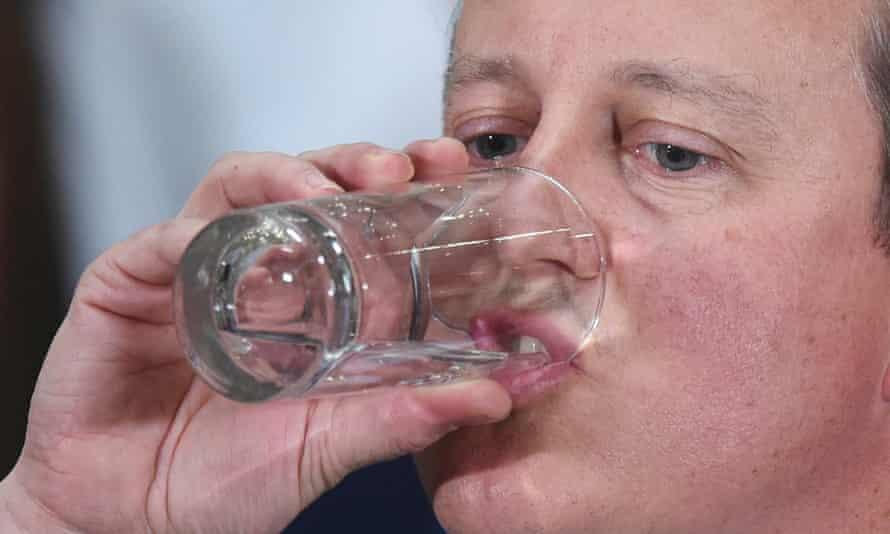 David Cameron drinking glass of water