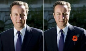 An hour later, Downing Street deleted the picture and replaced it with one of the prime minister actually wearing a poppy, but not before the original photo had been spotted by other people on social media.