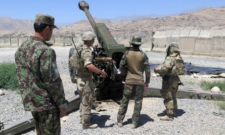 US military advisers work with Afghan soldiers at an Afghan army base in Maidan Wardak province, Afghanistan, on 6 August.