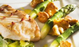 Fish and asparagus dish at Auberge Le Relais, Champagne, France.
