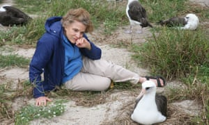 Oceanographer Dr Sylvia Earle, and Wisdom, the oldest known living Laysan albatross, at Midway Atoll national wildlife refuge.