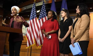 Ilhan Omar, Ayanna Pressley, Alexandria Ocasio-Cotez and Rashida Tlaib during a press conference on Capitol Hill on 15 July.