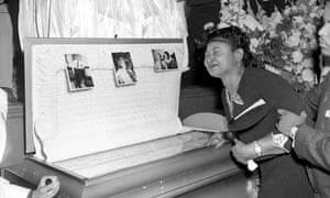 Mamie Till Mobley weeps at her son's funeral in Chicago, 1955.