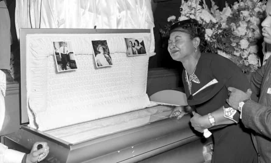 Mamie Till Mobley at her son's funeral in 1955.