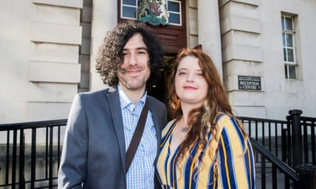 Emma De Souza with her husband Jake outside the Royal Courts of Justice in Belfast in 2019
