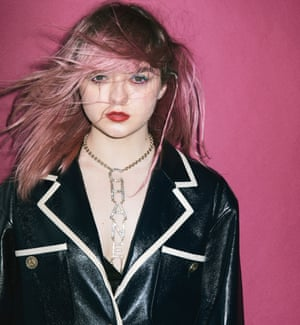 'I'm not a whizz-kid. I have to go into scary tech meetings': she has launched an app called Daisie, which now has a staff of 17. Maisie wears pvc blazer and logo necklace, both by chanel.com