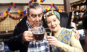 Stan and Hilda Ogden (Jean Alexander and Bernard Youens).